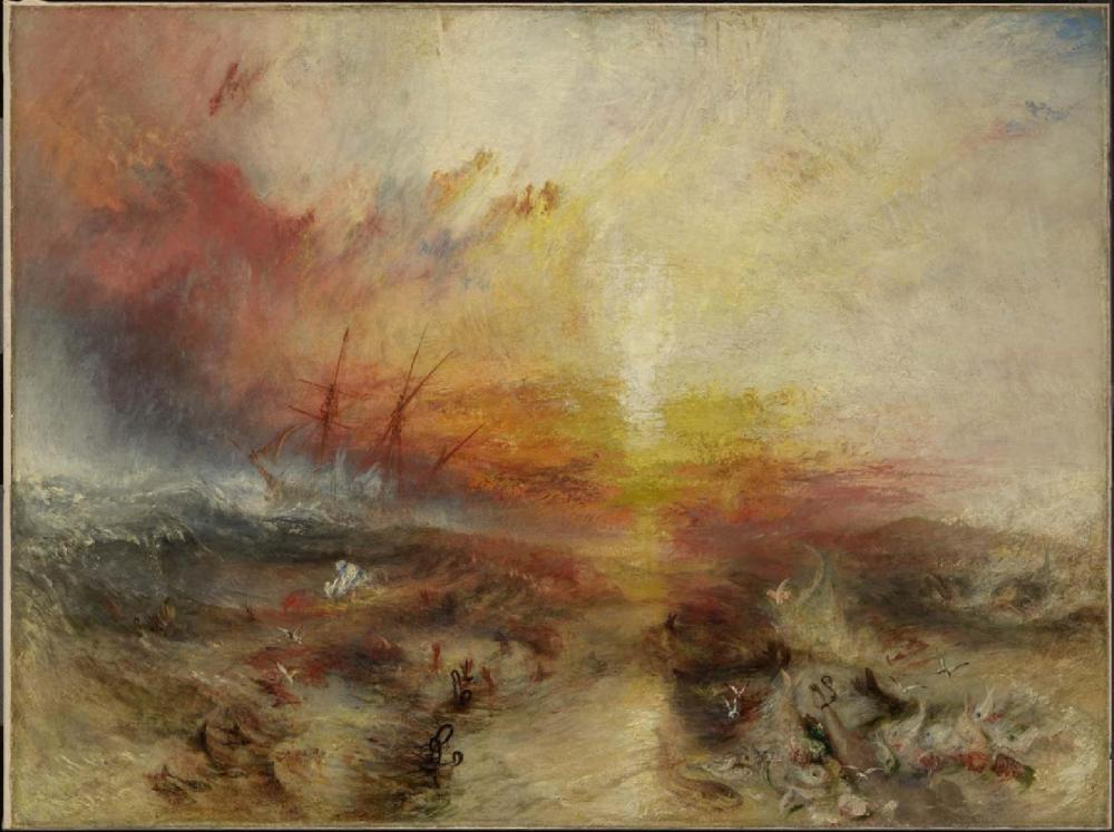 奴隷船(奴隷船が死者の船外に投げ出されて死に、台風がやってくる)